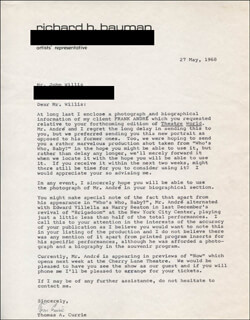 Autographs: THOMAS A. CURRIE - TYPED LETTER SIGNED 05/27/1968