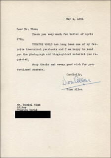 DION ALLEN - TYPED LETTER SIGNED 05/01/1951