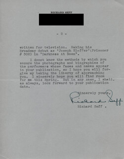 RICHARD SEFF - TYPED LETTER SIGNED 01/24/1951