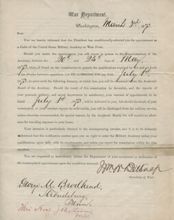 Autographs: MAJOR GENERAL WILLIAM W. BELKNAP - MILITARY APPOINTMENT SIGNED 03/03/1873