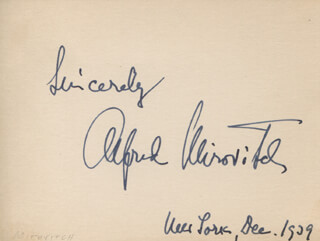 ALFRED MIROVITCH - AUTOGRAPH SENTIMENT SIGNED 12/1929