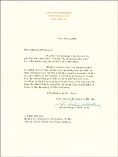 Autographs: FRANCIS CARDINAL SPELLMAN - TYPED LETTER SIGNED 07/25/1958
