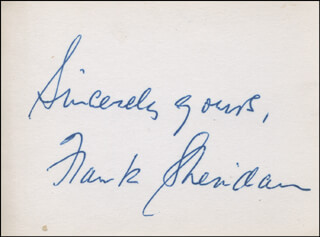 FRANK SHERIDAN - AUTOGRAPH SENTIMENT SIGNED