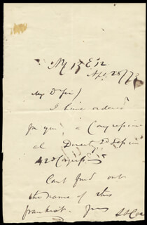 SAMUEL S. SUNSET COX - AUTOGRAPH NOTE SIGNED 04/28/1873