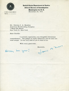 LOUIS B. NICHOLS - TYPED LETTER SIGNED 12/28/1954