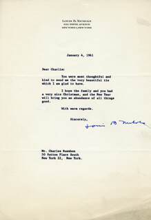 LOUIS B. NICHOLS - TYPED LETTER SIGNED 01/04/1961