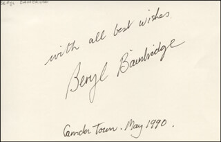 BERYL MARGARET BAINBRIDGE - AUTOGRAPH SENTIMENT SIGNED 5/1990