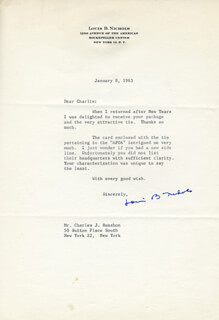 LOUIS B. NICHOLS - TYPED LETTER SIGNED 01/08/1963