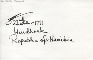 PRESIDENT SAM DANIEL NUJOMA (NAMIBIA) - AUTOGRAPH 10/22/1991