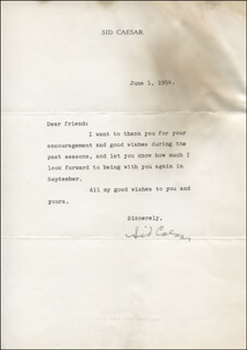 SID CAESAR - TYPED LETTER SIGNED 06/01/1954