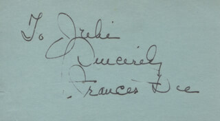 FRANCES DEE - AUTOGRAPH NOTE SIGNED