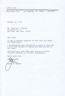 Autographs: JAMES T. AUBREY - TYPED LETTER SIGNED 10/29/1979