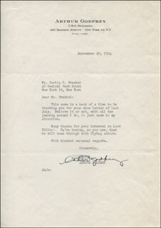 Autographs: ARTHUR GODFREY - TYPED LETTER SIGNED 09/30/1954