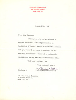 FRANCIS CARDINAL SPELLMAN - TYPED LETTER SIGNED 08/17/1962