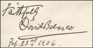 DAVID BELASCO - AUTOGRAPH SENTIMENT SIGNED 02/22/1906