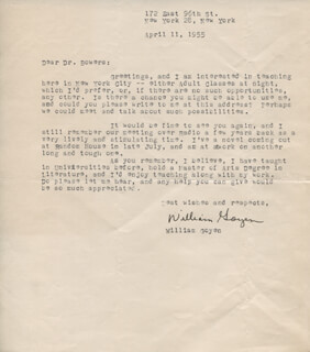 WILLIAM GOYEN - TYPED LETTER SIGNED 04/11/1955
