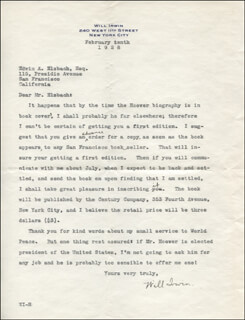 WILL IRWIN - TYPED LETTER SIGNED 02/10/1928