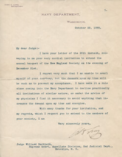 JOHN D. LONG - TYPED LETTER SIGNED 10/22/1898
