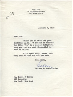 Autographs: VICE PRESIDENT NELSON A. ROCKEFELLER - TYPED LETTER SIGNED 01/09/1959