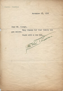 LOWELL THOMAS - TYPED NOTE SIGNED 11/28/1956