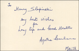 Autographs: PRESIDENT AGATHA BARBARA (MALTA) - AUTOGRAPH NOTE SIGNED