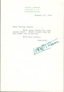 LOWELL THOMAS - TYPED LETTER SIGNED 01/27/1976