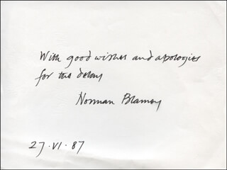 NORMAN C. BLAMEY - AUTOGRAPH SENTIMENT SIGNED 06/27/1987