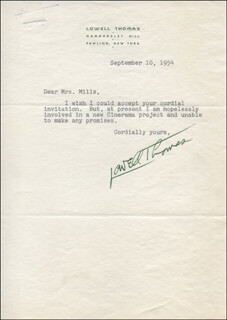 LOWELL THOMAS - TYPED LETTER SIGNED 09/10/1954