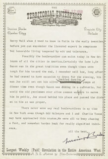 LUCIUS MORRIS BEEBE - TYPED LETTER SIGNED 07/19/1958