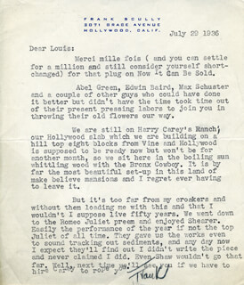 FRANK SCULLY - TYPED LETTER SIGNED 07/29/1936