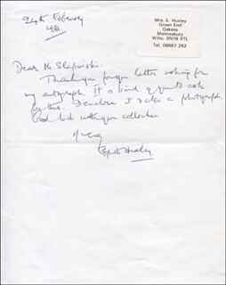 ELSPETH HUXLEY - AUTOGRAPH LETTER SIGNED 02/24/1991