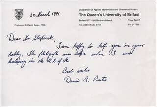 SIR DAVID R. BATES - AUTOGRAPH LETTER SIGNED 03/30/1991