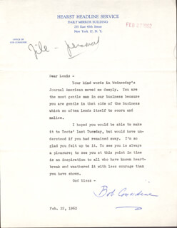 ROBERT CONSIDINE - TYPED LETTER SIGNED 02/22/1962