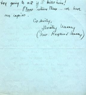 DOROTHY (MRS. RAYMOND) MASSEY - AUTOGRAPH LETTER SIGNED 12/27/1940