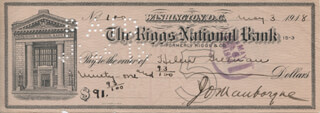 MAJOR GENERAL JOSEPH O. MAUBORGNE - AUTOGRAPHED SIGNED CHECK 05/03/1918