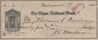 MAJOR GENERAL JOSEPH O. MAUBORGNE - AUTOGRAPHED SIGNED CHECK 07/19/1922 CO-SIGNED BY: KATHARINE P. (HALE) MAUBORGNE