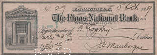 MAJOR GENERAL JOSEPH O. MAUBORGNE - AUTOGRAPHED SIGNED CHECK 10/08/1919