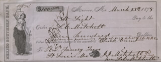 JOHN J. MITCHELL - AUTOGRAPHED SIGNED CHECK 03/28/1878