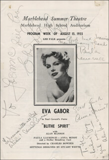 Autographs: BLITHE SPIRIT PLAY CAST - INSCRIBED SHOW BILL SIGNED CIRCA 1955 CO-SIGNED BY: EVA GABOR, PAULA LAURENCE, ALAN MANSON, ANNA MINOT, MURIEL PEARCE
