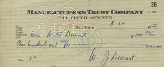 WILL DURANT - CHECK DOUBLE SIGNED 08/24/1946 CO-SIGNED BY: ARIEL DURANT, ETHEL GLADYS DURANT
