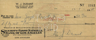 WILL DURANT - AUTOGRAPHED SIGNED CHECK 12/07/1948 CO-SIGNED BY: MRS. JOSEPH DURANT, ETHEL GLADYS DURANT