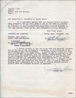 JOANNE DRU - CONTRACT SIGNED 12/14/1955