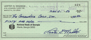 GOVERNOR LESTER G. MADDOX - AUTOGRAPHED SIGNED CHECK 03/08/1983