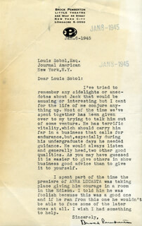 BROCK PEMBERTON - TYPED LETTER SIGNED 01/06/1945
