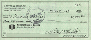 GOVERNOR LESTER G. MADDOX - AUTOGRAPHED SIGNED CHECK 06/08/1983 CO-SIGNED BY: VIRGINIA MADDOX CARNES