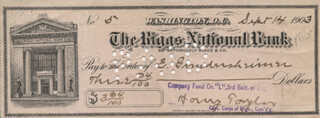 MAJOR GENERAL HARRY TAYLOR - AUTOGRAPHED SIGNED CHECK 09/14/1903