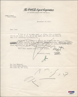 Autographs: JAMES A. FARLEY - TYPED LETTER SIGNED 11/14/1950