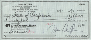 THOMAS E. HAYDEN - AUTOGRAPHED SIGNED CHECK 04/01/1991  - HFSID 317485