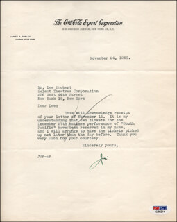 Autographs: JAMES A. FARLEY - TYPED LETTER SIGNED 11/24/1950