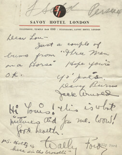 WALLACE WALLY FORD - AUTOGRAPH LETTER SIGNED CO-SIGNED BY: JACK ARNOLD, DAVID BURNS